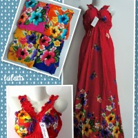 Sexy Daster Bali Flowly Dress Bunga Merah Pink Orens Biru Kuning