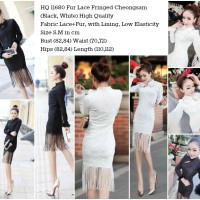 HQ 11680 Fur Lace Fringed Cheongsam (BLACK & WHITE) - (S,M)