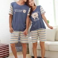 Baju Tidur Setelan Pendek Piyama Kaos Couple Lucu Teddy Boy Girl Set