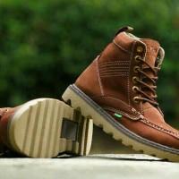 sepatu boot kickers pria kulit coklat