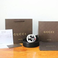 JUAL BELT GUCCI GUCCISIMA LEATHER BELT BLACK WITH G BUCKLE