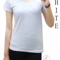 Kaos Polos Vneck Tee Shirt Wanita Spandek Ecer Grosir White