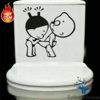 Stiker Dekorasi Toilet/Kamar Mandi Closet Lucu Unik Motif Anak Kecil