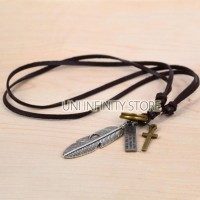 JWNE0081 Kalung Kulit Pria (Feather Leather Necklace)