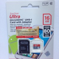 Jual Memory Memori Card MicroSD Micro SD Sandisk Ultra Class 10 16GB, 16 GB Murah