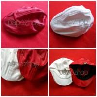 Topi ped dewasa merah putih newsboy cap pet fedora floppy buccket