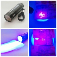 Senter led uv (ultraviolet) 9 led, Kualiatas import, harga competitive