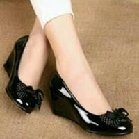 sandal sepatu  Wedges Wanita Hitam Ys 02