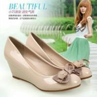 sandal sepatu Wedges Wanita Krem Ys 02