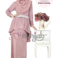 Nuhijab Emboss Peplum Dress (epd) - Grey Pastel