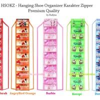 Hanging Shoes Organizer Karakter Zipper / Rak Sepatu Gantung