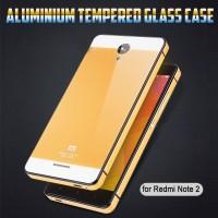 Jual XIAOMI REDMI NOTE 2 CASING METAL ALUMUNIUM TEMPERED GLASS BACK CASE Murah
