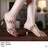 sendal high heels gold bling bling