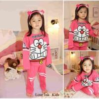 Baju Tidur Piyama - Setelan Anak Cewek Perempuan Lucu Doraemon Pinky