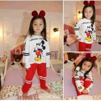 Baju Tidur Piyama - Setelan Anak Cewek Perempuan Lucu Miki Mouse Girl