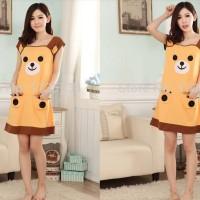Baju Tidur Baby Doll Sleepwear - Daster Kaos Wanita Karakter Coco Pooh