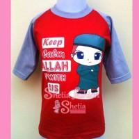 baju muslim anak laki-laki islami : keep calm merah seri remaja
