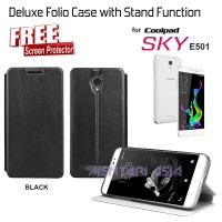 Flipcover Coolpad Sky E501 : Deluxe Stand Function ( + Free Sp)