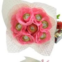 Buket Bunga Coklat Ferrero Rocher Bouquet Buket Mawar Pink Valentine