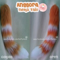 Anggora Neko Tail Ekor Belang oren Accesories Cosplay kawaii