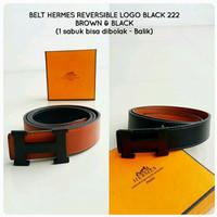 Belt HERMES Reversible Logo Black Premium Kode 222