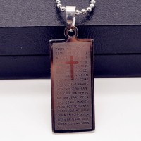 Cross Jewellery Heart Pendant Titanium Steel Necklace Beads Chain Gift