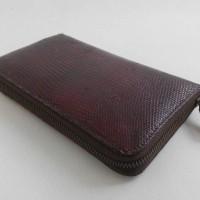 Dompet Resleting Kulit Biawak Asli Warna Merah Maroon