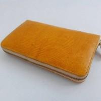 Dompet Resleting Kulit Biawak Asli Warna Orange