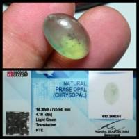 Batu Prase Opal (Chrysopal) + Memo