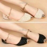Jual Sepatu Wanita Flatshoes Cream - Brukat Murah