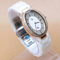 GC OVAL CERAMIC WHITE ROSEGOLD FOR LADIES