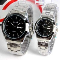 Jam Tangan Couple - Alba Couple DayDate Stainless Silver Black