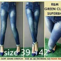 Celana Jeans Super Jumbo Bigsize 39-42 R&M Green Claw Sobek Tdk Tembus