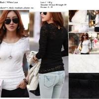 Baju Atasan Wanita Putih, Hitam, Lace brokat Murah import