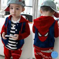 Setelan Anak Laki-laki Gambar Spiderman Face 3in1 Merah