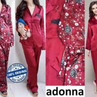 Baju Tidur Branded Murah LBBL465 Adonna Maroon Satin Pajamas Set