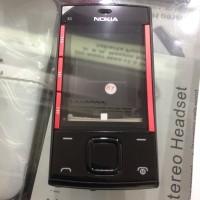 Casing Case Nokia X3 X3-00 Slide Fullset+tulang Warna Hitam List Merah