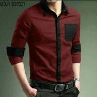 [2tone maroon OT] pakaian pria kemeja warna maroon kombi hitam