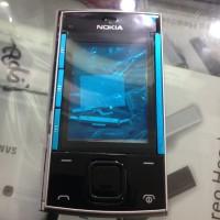 Casing Case Nokia X3 Slide X3-00 List Biru Backdoor Silver Fullset