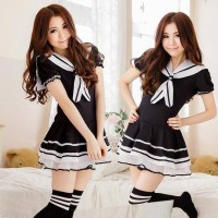 Costume Mini Seifuku black Rompi Costume cute cosplay cute japan