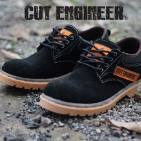 Cut Engineer Safety Rubber Low Boots Leather Hitam