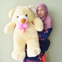 Jual Boneka Teddy Bear Besar Pita Cream SNI Uk.85cm Murah