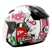 Helm KYT DJMaru Motif Seri 5 Doodle DJ Maru Half Face White Pink
