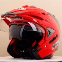 Helm NHK Godzilla Half Face Godzila Double Visor Red Merah