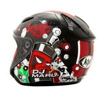 Helm KYT DJMaru Motif Seri 5 Doodle DJ Maru Half Face Black Red