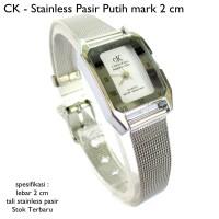 jam tangan wanita ck stainless pasir hitam mark 2 cm full set