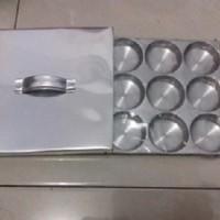 Cetakan Kue Lumpur/Kue Apem/Martabak Mini, 9 Lubang,alumunium+tutup