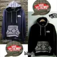 """Jaket Fleece - Vans Batik """"Hoodie"""" - Navy - Black - Premium"""