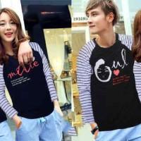 Kaos Baju Couple Lengan Panjang   Pusple Biru Kode: LPPK-AJ12