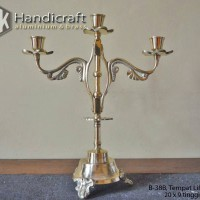 Tempat Lilin Cabang 3 Kuningan - Candle Holder Brass